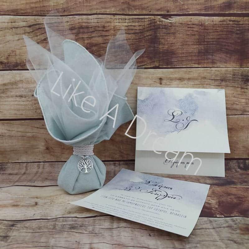 μπομπονιέρα γάμου μαντήλι τζιν με δέντρο ζωής με προσκλητήριο θάλασσα