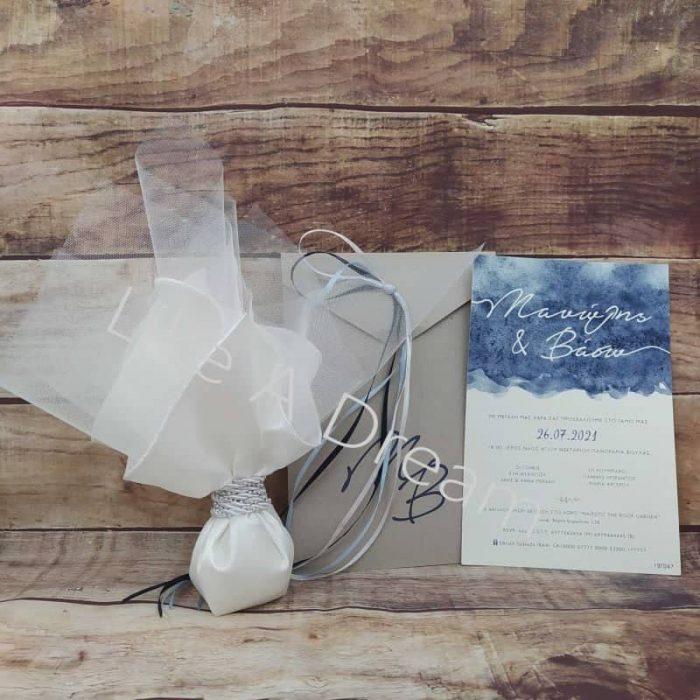 μπομπονιέρα γάμου μαντίλι σατέν με προσκλητήριο θέμα την θάλασσα