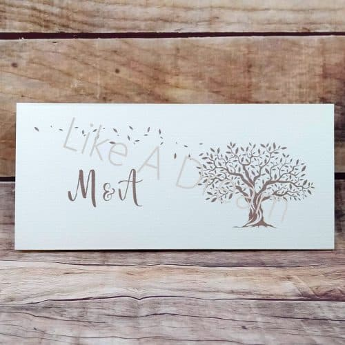 Προσκλητήριο γάμου με θέμα το δέντρο της ζωής με φύλλα