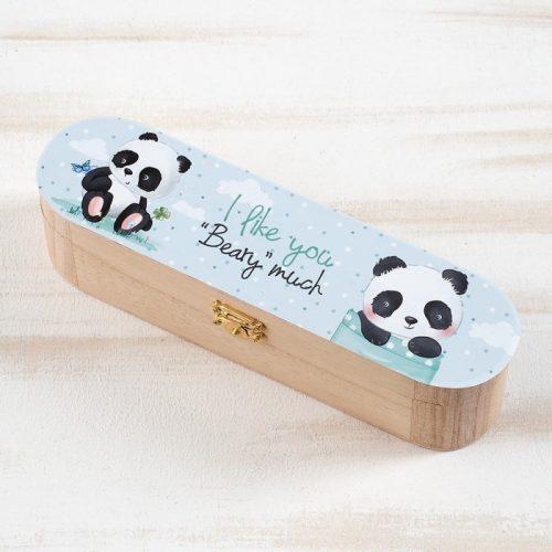 μπομπονιέρα ξύλινη-κασετίνα panda