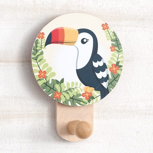 μπομπονιέρα ξύλινη-κρεμάστρα-τοίχου-toucan