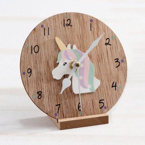 μπομπονιέρα ξύλινο-ρολόι-μονόκερος
