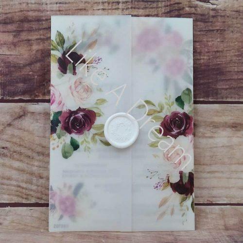 Προσκλητήριο γάμου floral με βουλοκέρι